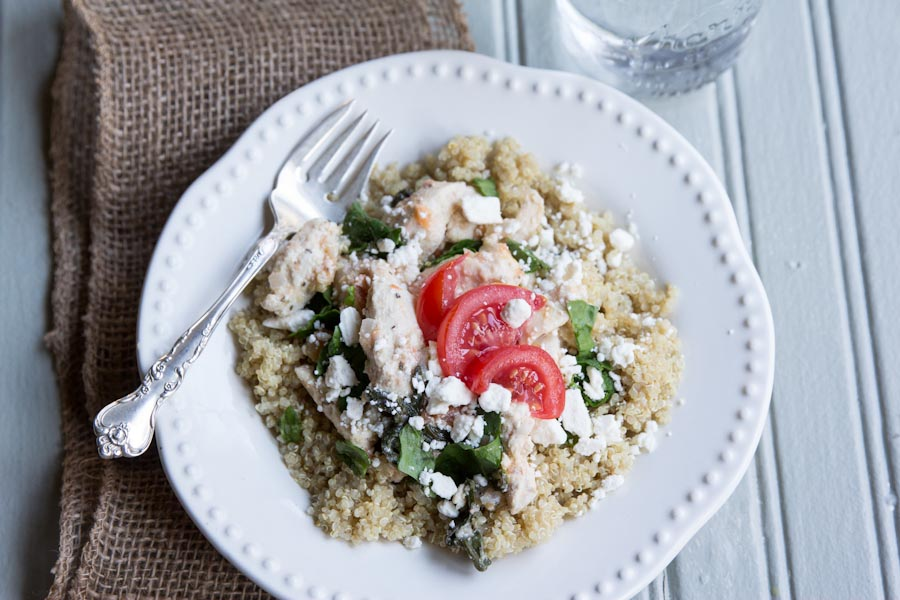 Tomato Basil Chicken and Quinoa Recipe   theVintageMixer.com