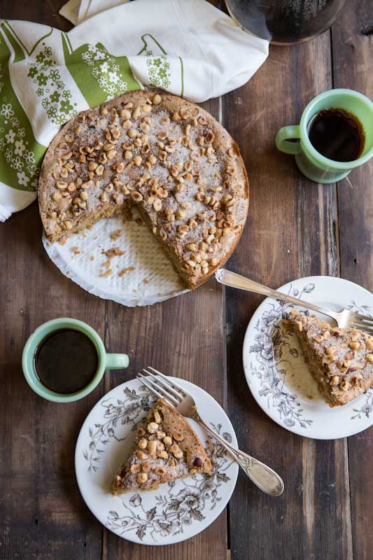 Rhubarb Coffee Cake Recipe • theVintageMixer.com #eatseasonal