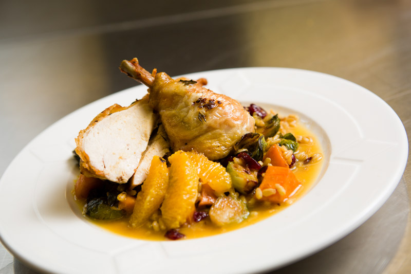 Roasted Chicken over Barley Vegetable Hash