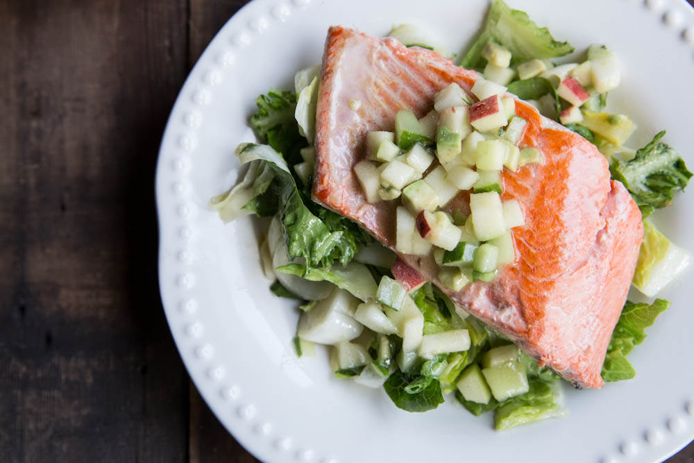 Salmon with Apple, Cucumber, and Avocado Salsa
