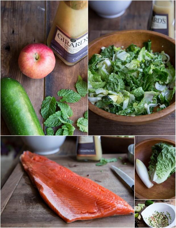 salmon salad with apple cucumber and avocado salsa • theVintageMixer.com