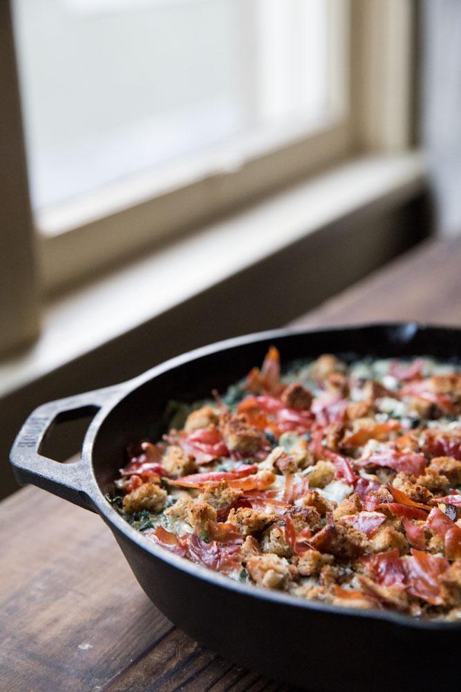 Kale and Collard Green Gratin Recipe • theVintageMixer.com #Thanksgiving
