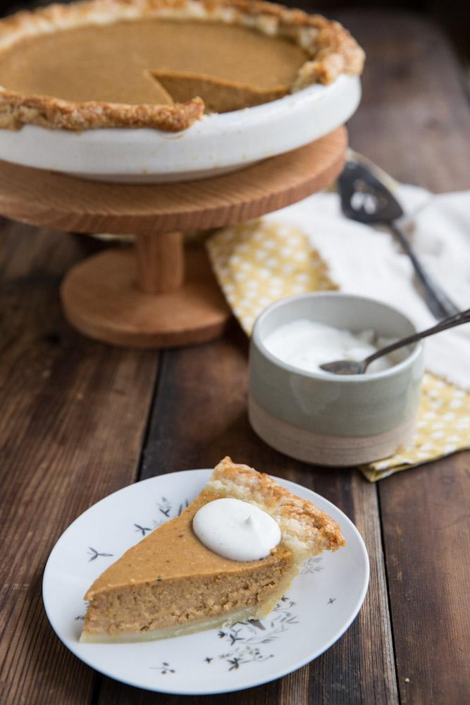 Pumpkin Sweet Potato Pie with vanilla bean and pure maple syrup • theVintageMixer.com #pie #Thanksgiving