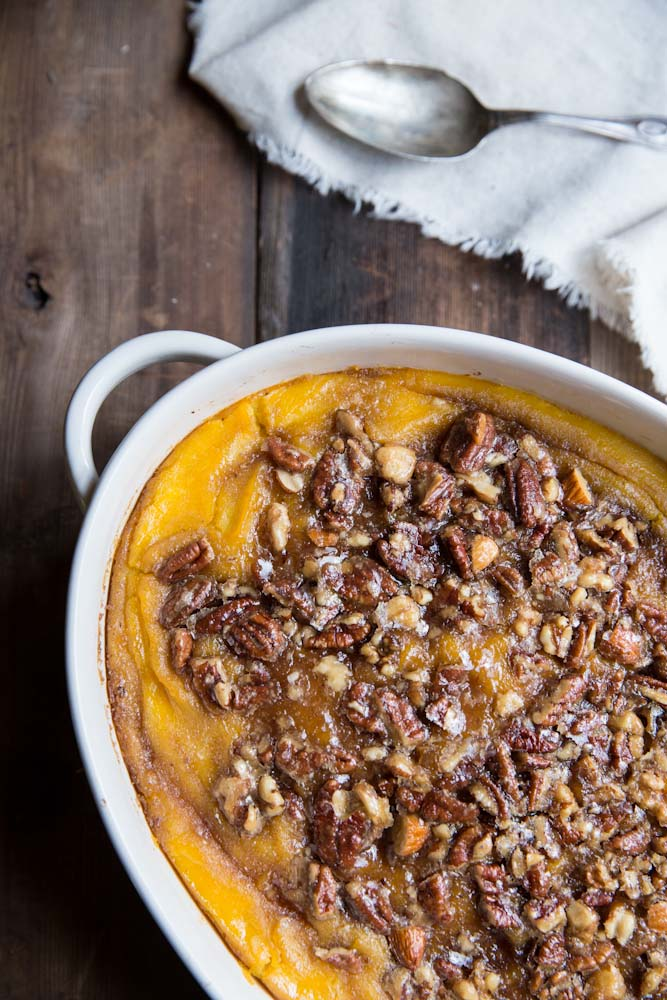 Squash Casserole with Maple Nut Praline • theVintageMixer.com #Thanksgiving