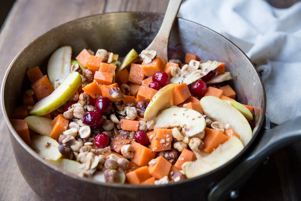 Sweet Potato, Apple, and Cranberry Saute with Hazelnuts