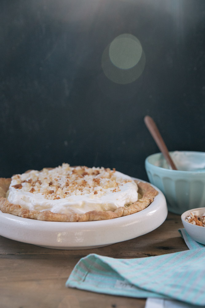 Classic Coconut Cream Pie Recipe • theVintageMixer.com #pie
