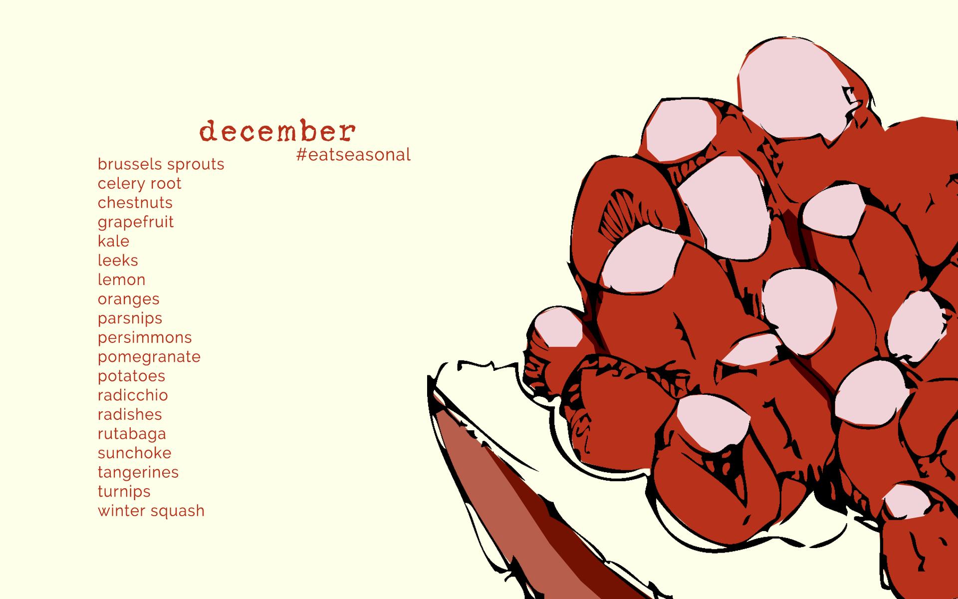 December Seasonal Produce List • theVintageMixer.com #eatseasonal