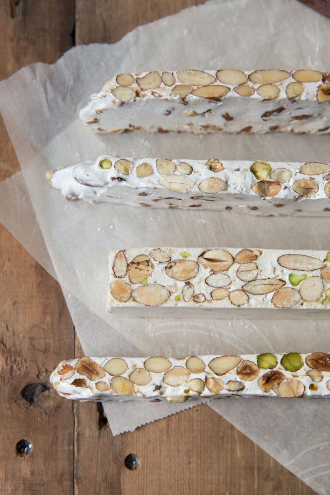 Homemade Torrone Recipe • theVintageMixer.com #ediblegifts #homemadecandy