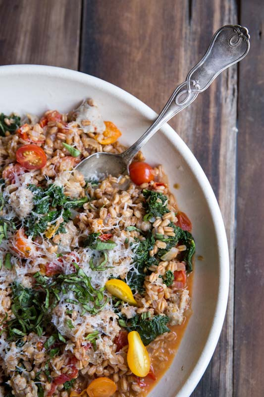 Farro with Tomatoes Sausage and Kale • theVintageMixer.com