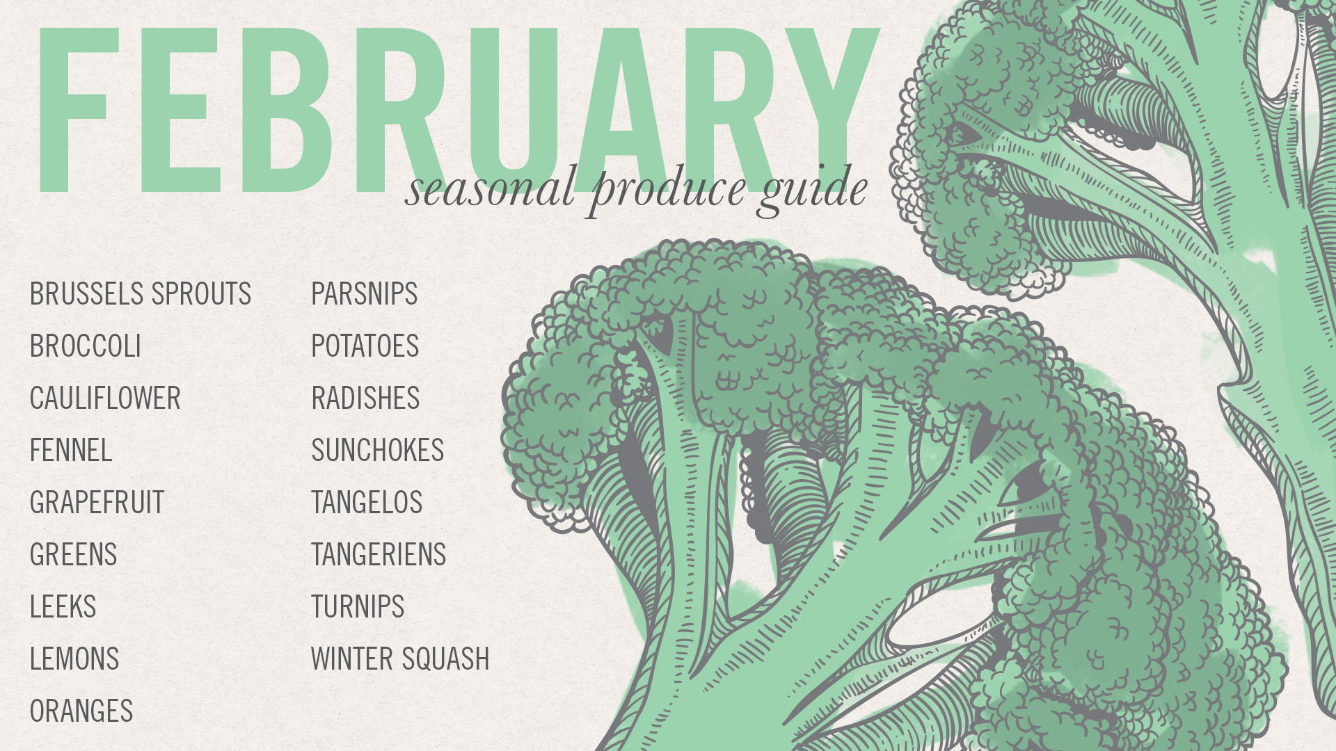 February Seasonal Produce Guide and Desktop Image • theVintageMixer.com #eatseasonal
