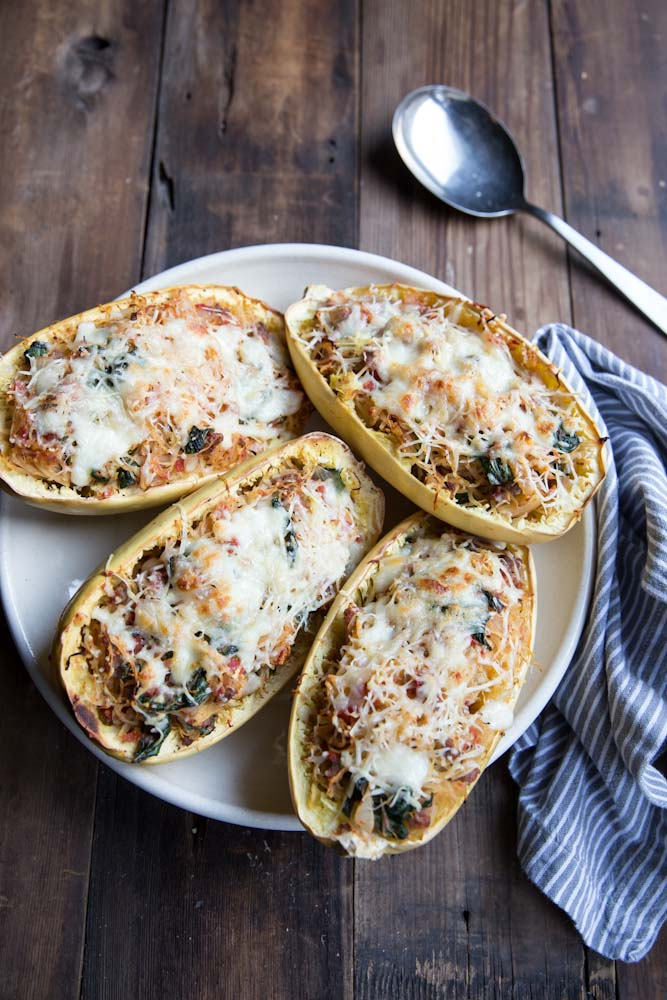 Twice Baked Spaghetti Squash Recipe • theVintageMixer.com #healthydinner