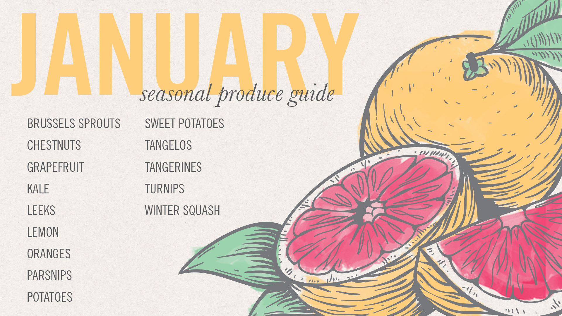 January Seasonal Produce Guide • theVintageMixer.com #eatseasonal
