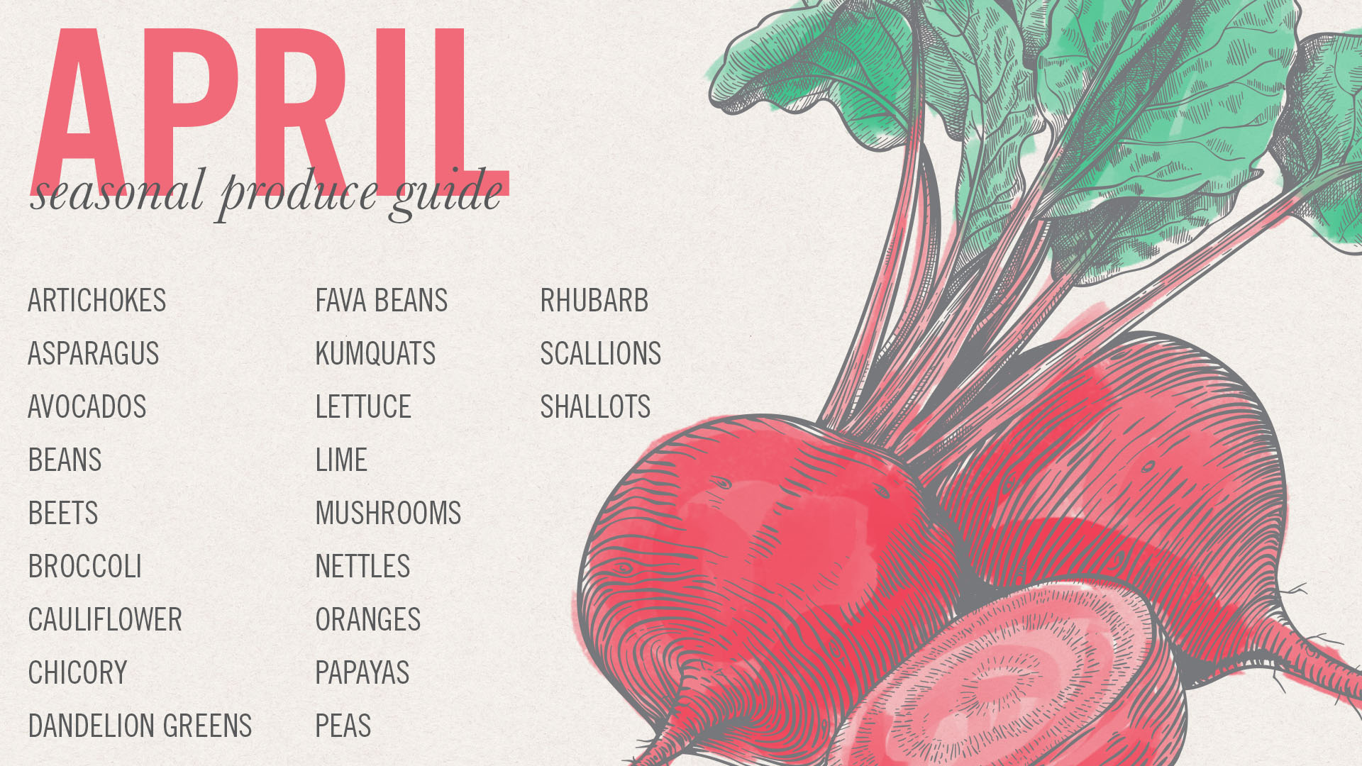 April Seasonal Produce Guide • theVintageMixer.com #eatseasonal