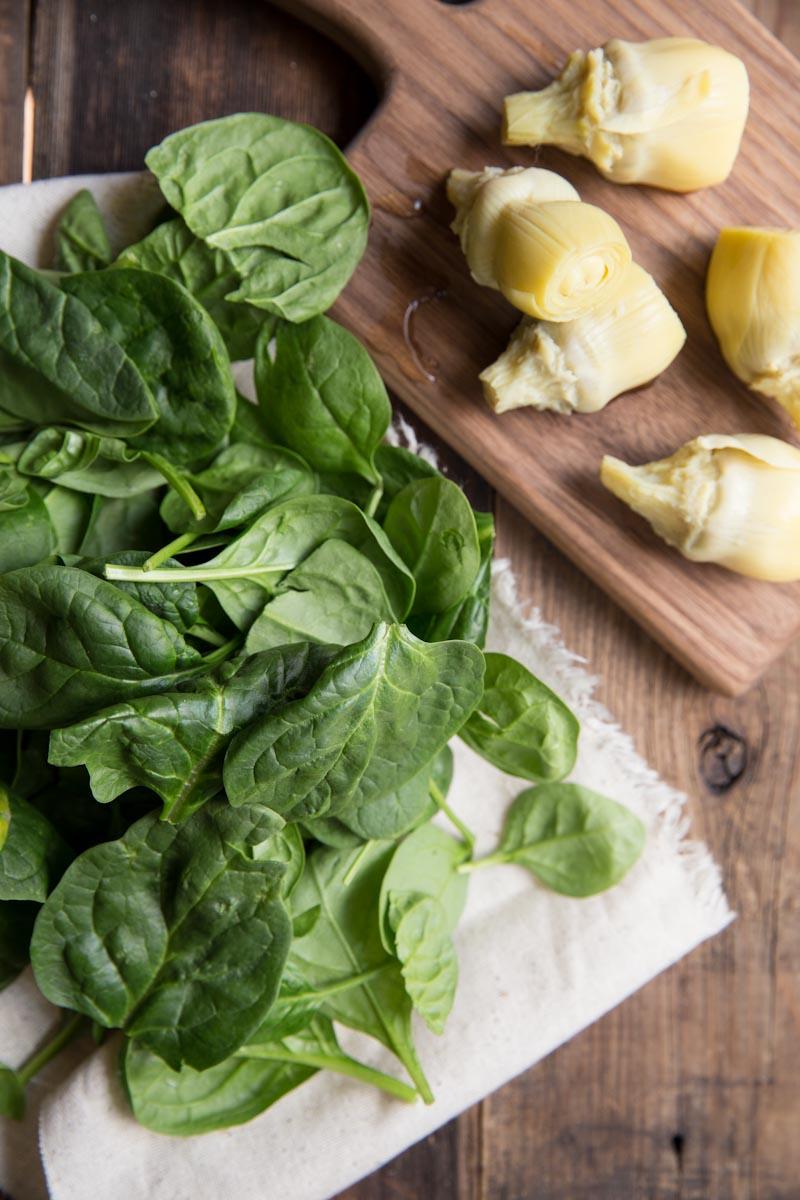 Spinach Artichoke Pasta Recipe • theVintageMixer.com #pasta