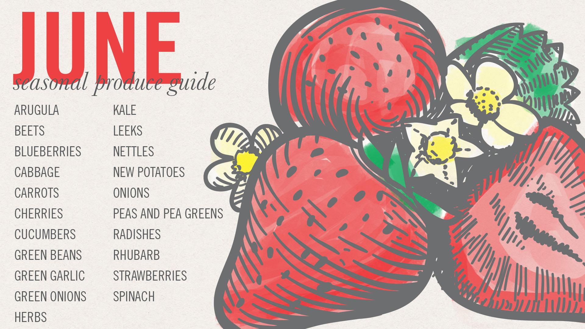 June Seasonal Produce Guide • theVintageMixer.com #eatseasonal