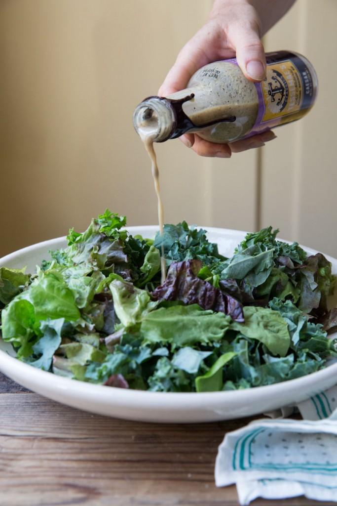 kale and blueberry caesar salad recipe • theVintageMixer.com #saladrecipe #eatseasonal