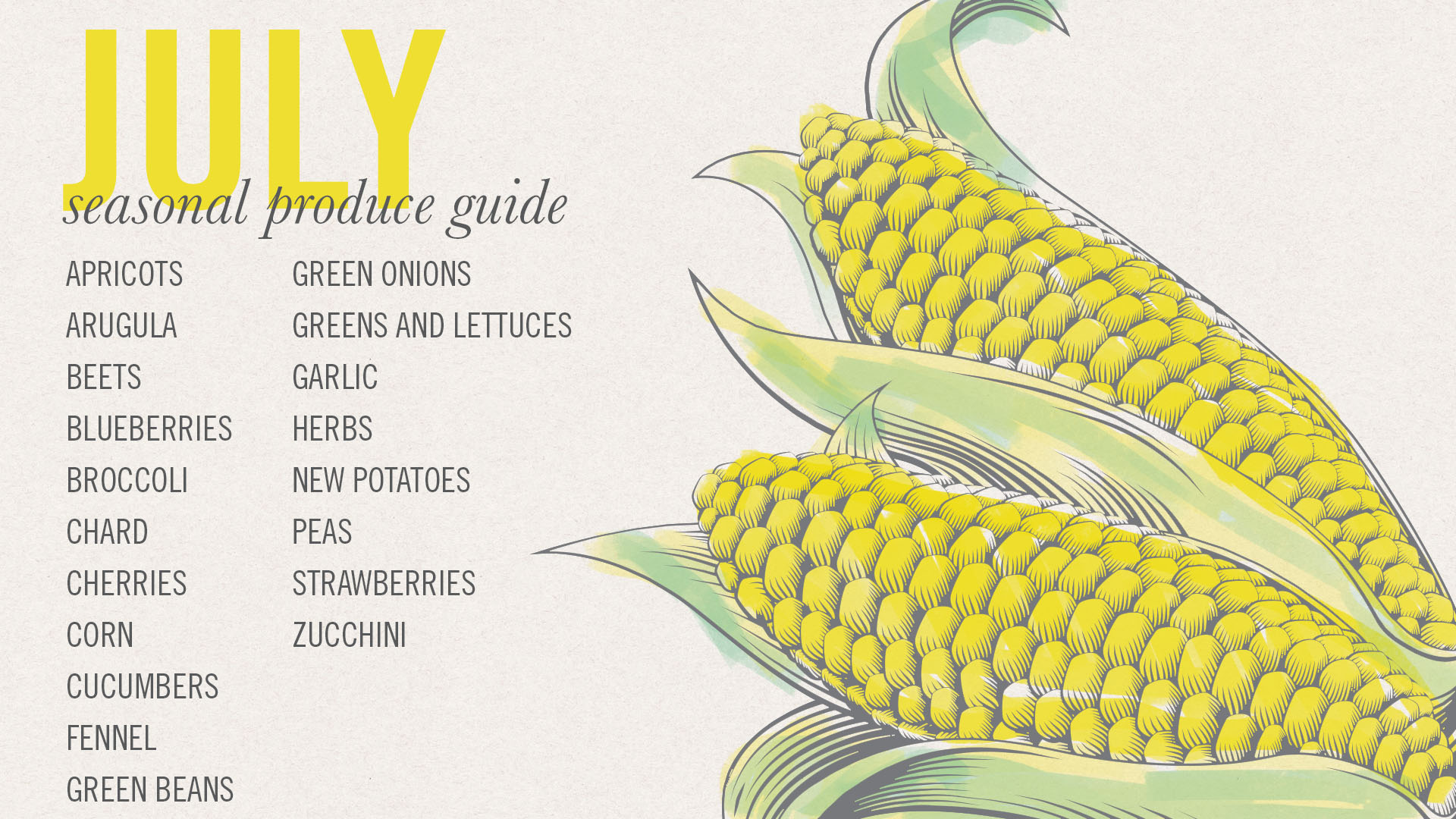 july seasonal produce guide and desktop screensaver • theVintageMixer.com #eatseasonal