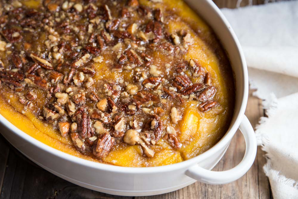 Squash Casserole with Maple Nut Praline • theVintageMixer.com #sidedish #thanksgivingrecipe
