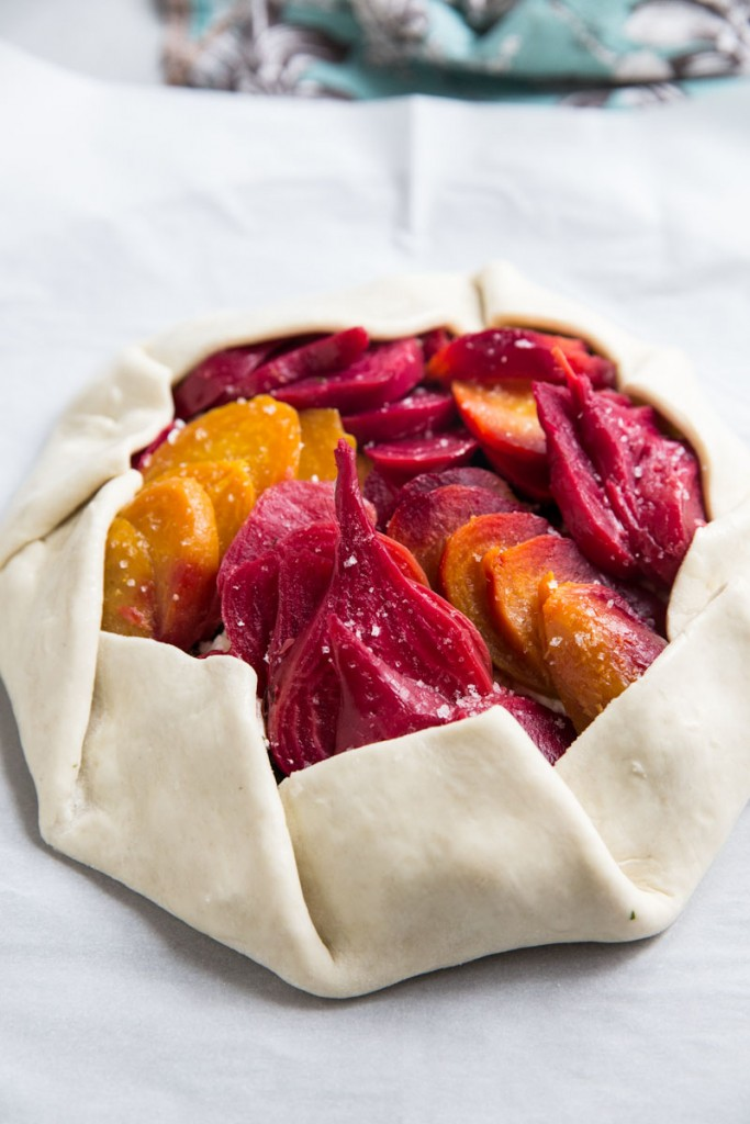 Beet and Goat Cheese Galette with Hazelnuts and Honey • theVintageMixer.com #eatseasonal #beets