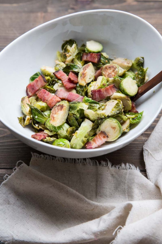 Brussels Sprouts with Bacon Recipe • theVintageMixer.com #Thanksgivingrecipe #sidedish #brusselssprouts