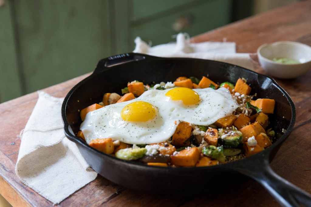 Sweet Potato Mushroom and Brussels Sprout Hash
