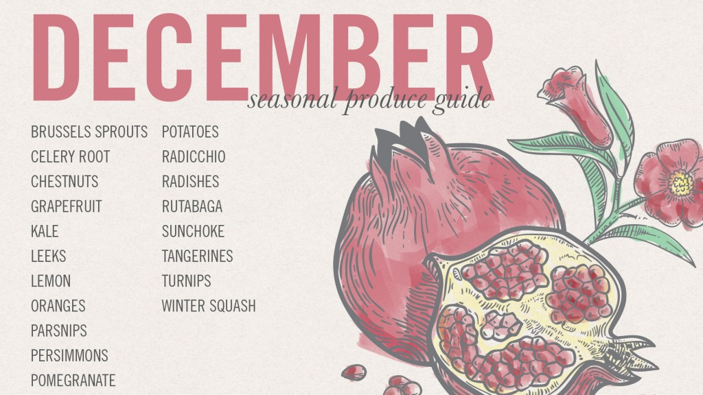 December Seasonal Produce and Recipe Guide • theVintageMixer.com #eatseasonal
