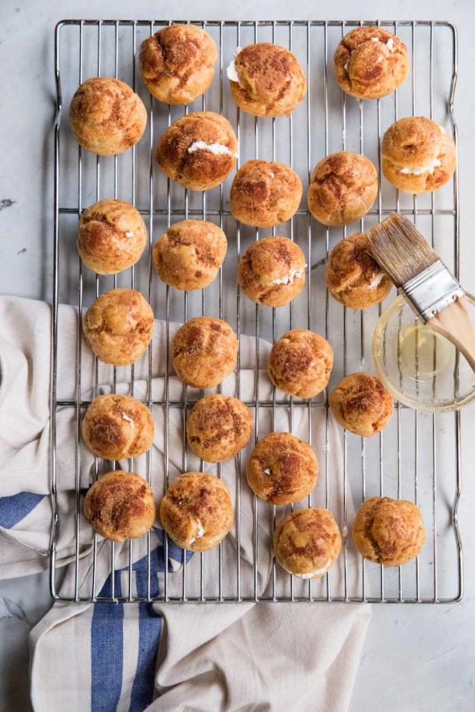 Churro Cream Puffs Recipe • theVintageMixer.com #churros