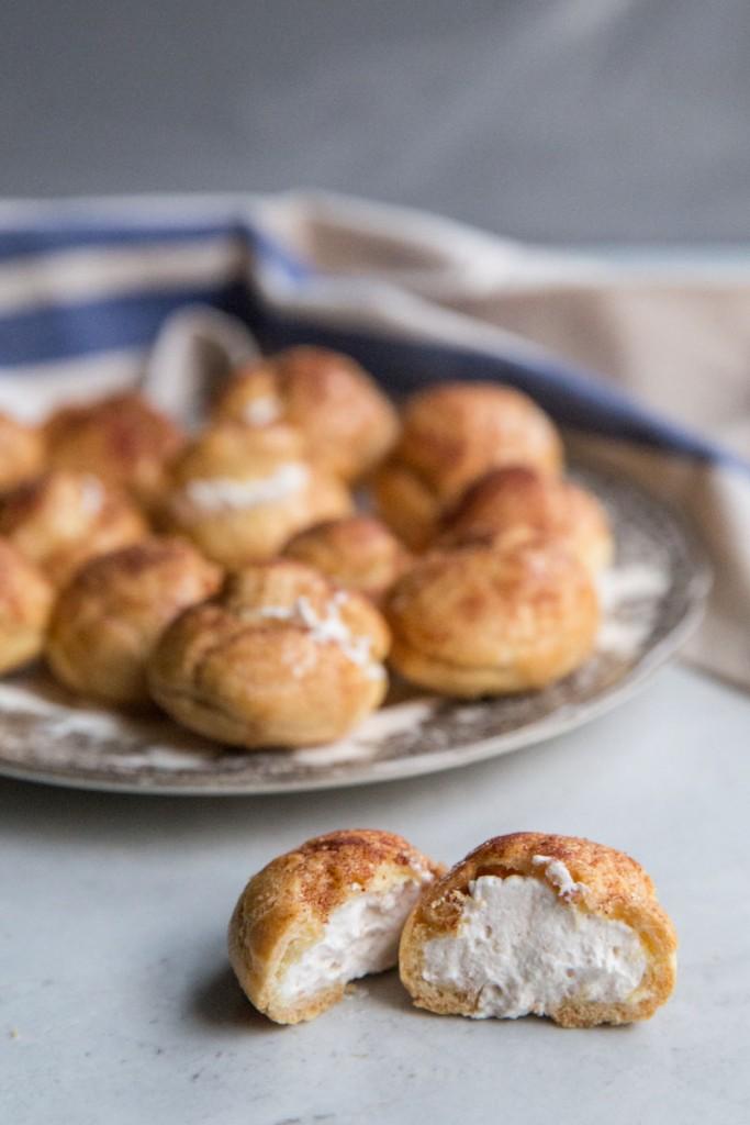Churro Cream Puffs Recipe • theVintageMixer.com #churros #creampuffs