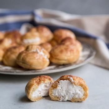 Churro Cream Puffs Recipe • theVintageMixer.com #churros #pateachoux