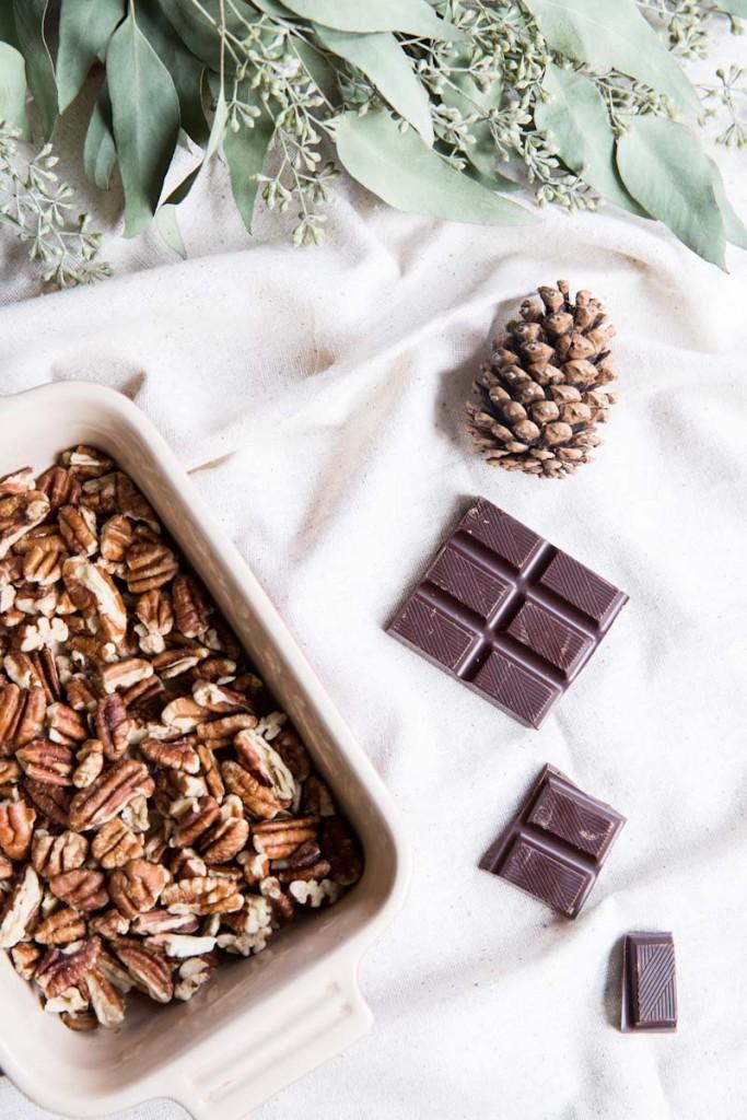 Pecan Sables with Dark Chocolate Ganache
