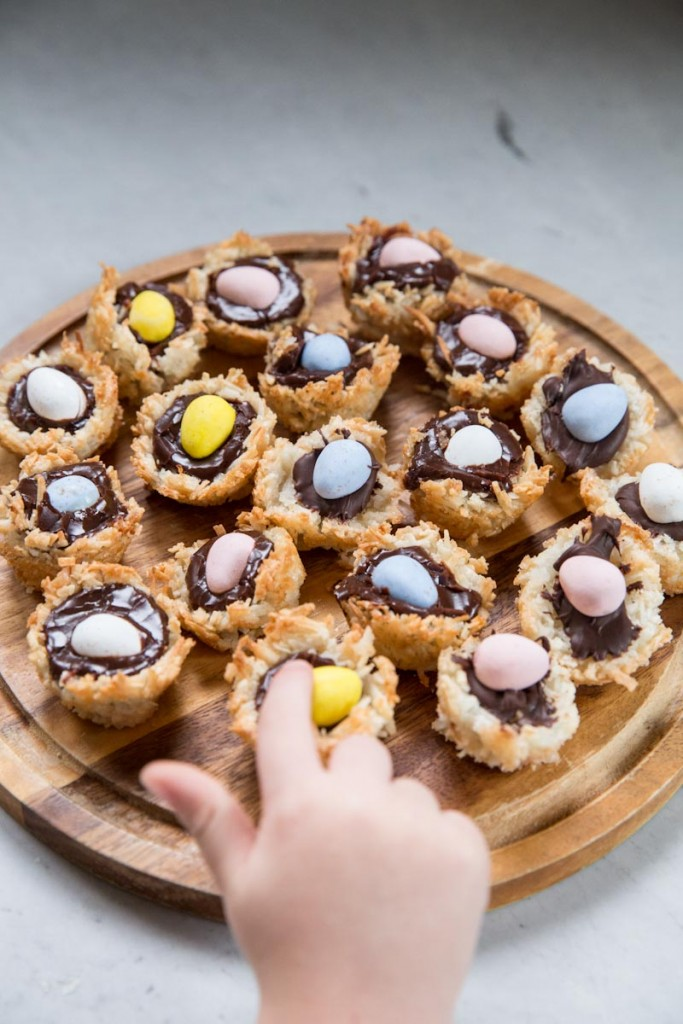 Coconut Macaroon Nests for Easter • theVintageMixer.com #EasterRecipe