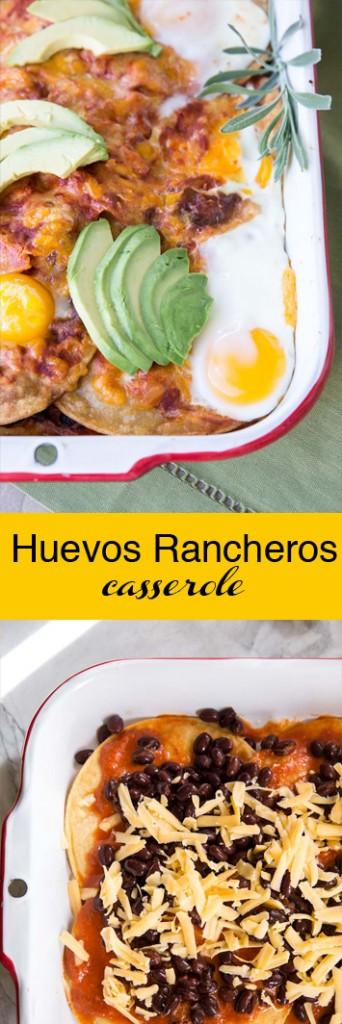 Huevos Rancheros Casserole Recipe • theVintageMixer.com #breakfastcasserole #huevosrancheros