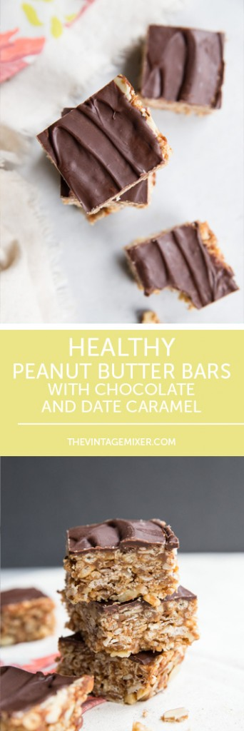 Healthy Peanut Butter Bars with Chocolate and Date Caramel • theVintageMixer.com #healthybars #healthysnack