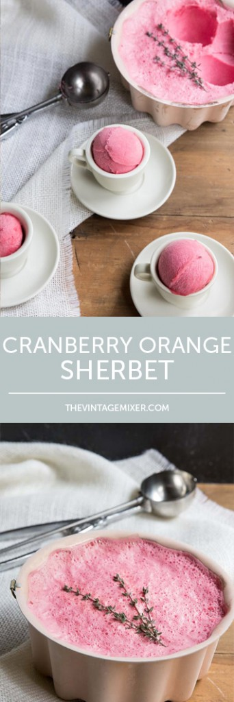 Thanksgiving Cranberry Sherbet Recipe • theVintageMixer.com #cranberrysauce #cranberrysherbet