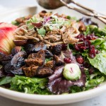 Fall Pulled Pork Salad with Apples Figs, Brussels Sprouts and Nuts • theVintageMixer.com #saladrecipe #pulledpork