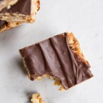 Healthy Peanut Butter and Chocolate Bars with Date Caramel