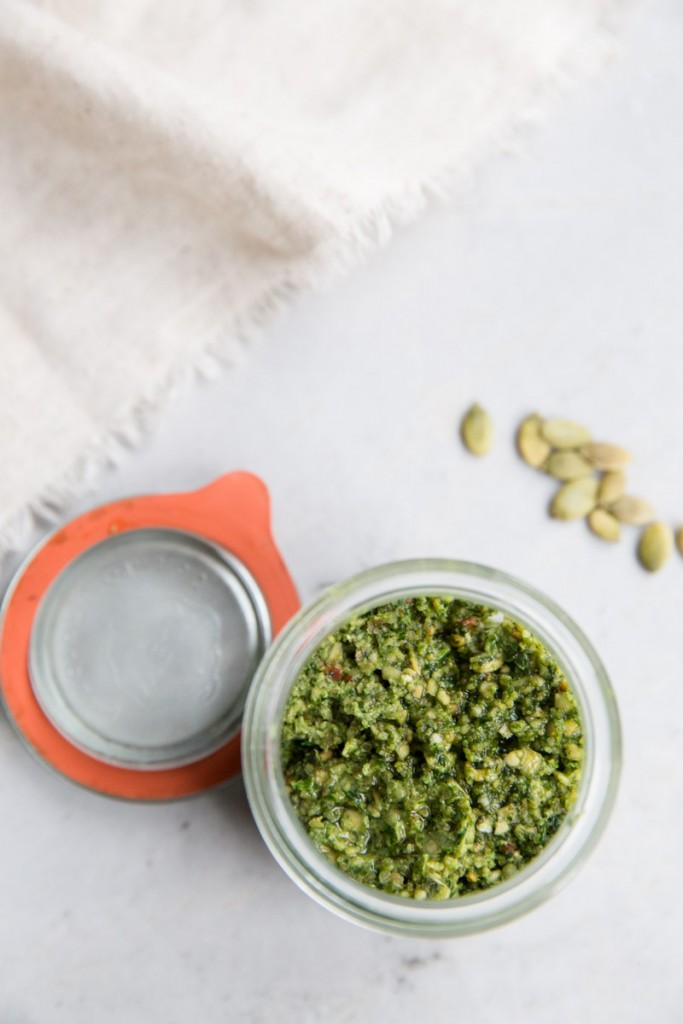 Pumpkin Seed and Cilantro Pesto  • theVintageMixer.com #pesto