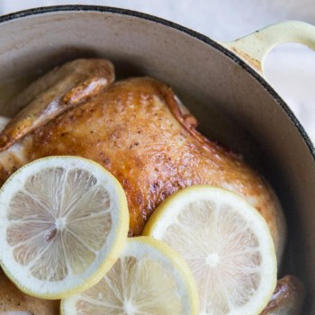 Easy Coconut Milk Roasted Chicken Recipe • theVintageMixer.com #roastedchicken