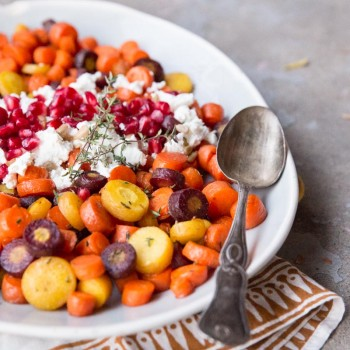 Honey Roasted Carrots with Pomegranate Seeds and Goat Cheese • theVintageMixer.com #sidedish #carrots #myharmons #thanksgivingrecipe