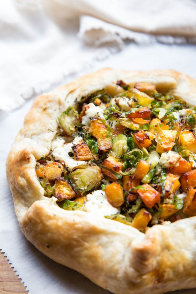 Fall Butternut Squash and Brussels Sprout Galette Recipe with Goat Cheese • theVintageMixer.com #galette #butternutsquash #brusselssprouts