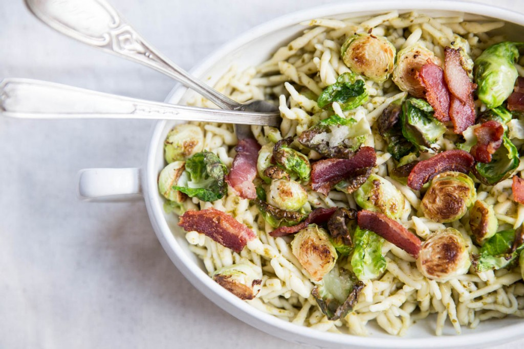 Pesto Trofie Pasta with Brussels Sprouts and Bacon