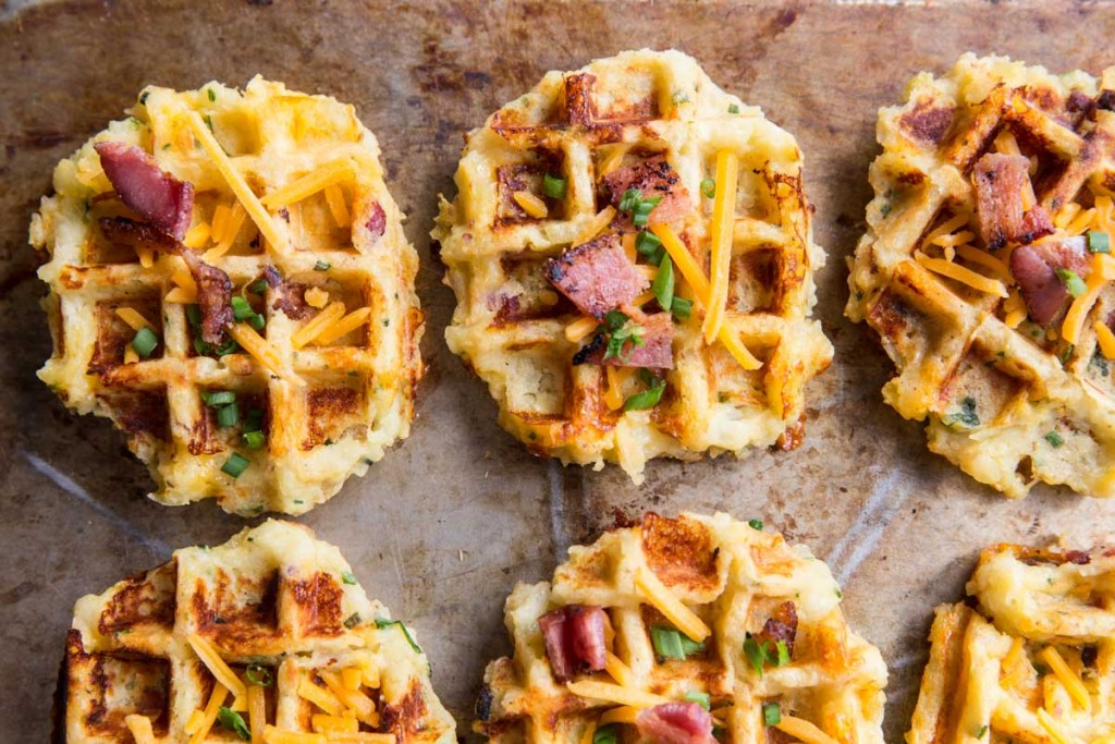 Loaded Baked Potato Waffle Recipe • theVintageMixer.com #waffles #potatorecipe