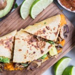 Vegan Sweet Potato Mushroom and Avocado Quesadillas