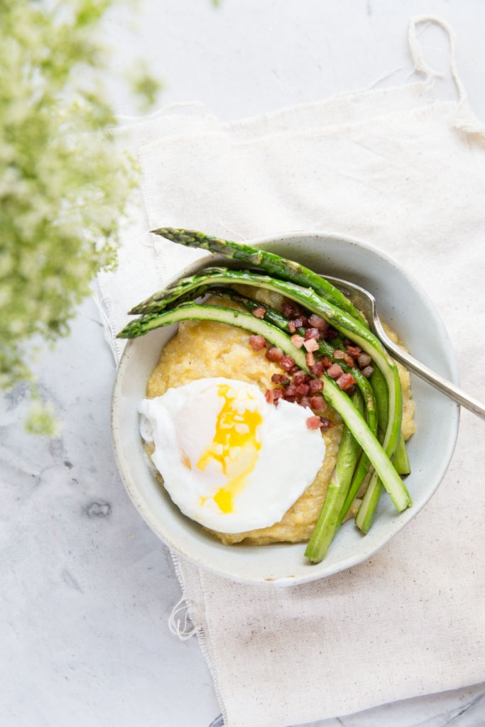 Breakfast Polenta Bowls with asparagus and poached eggs