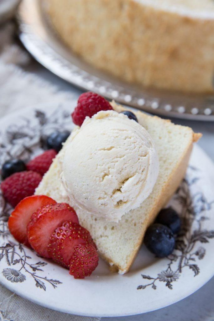 This Healthy Angel Food Cake Recipe is perfect for a light Summer dessert.