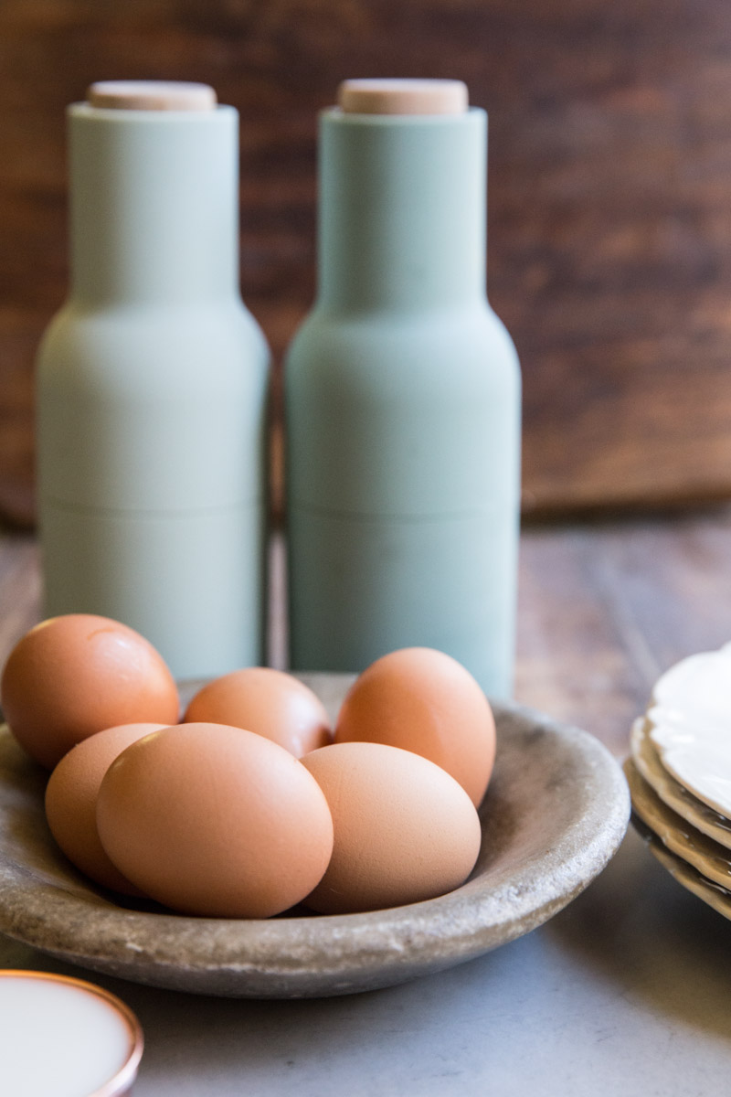 The ingredients for soft scrambled eggs