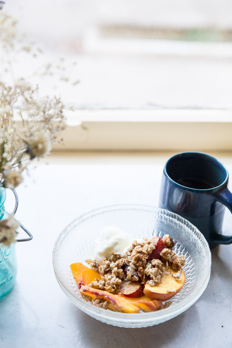 This gluten free and sugar free peach crisp is my new favorite breakfast!