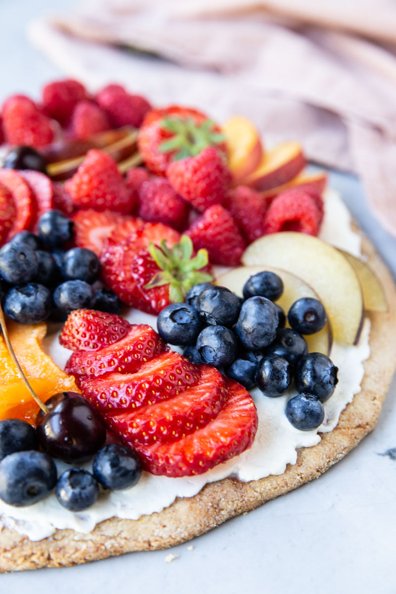 My family loves this recipe for gluten free fruit pizza. You would never know its almond flour instead of regular flour.
