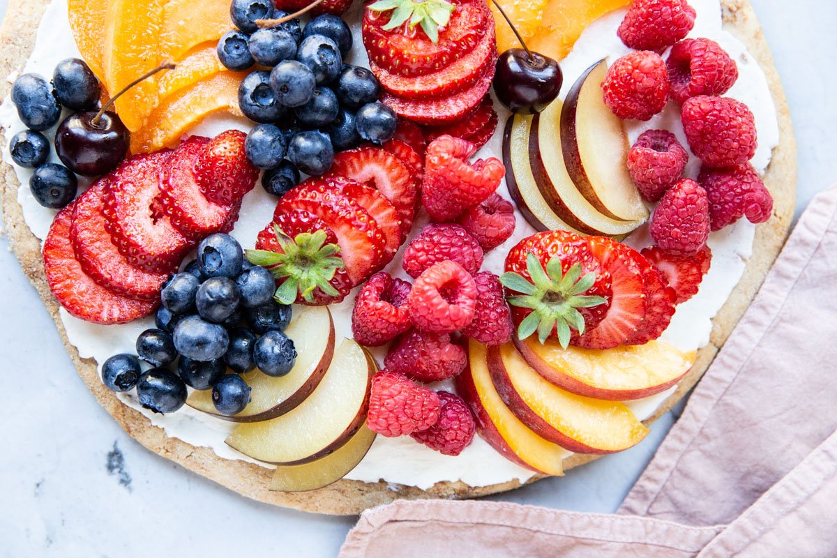 This gluten free fruit pizza with almond flour is a favorite with our whole family.