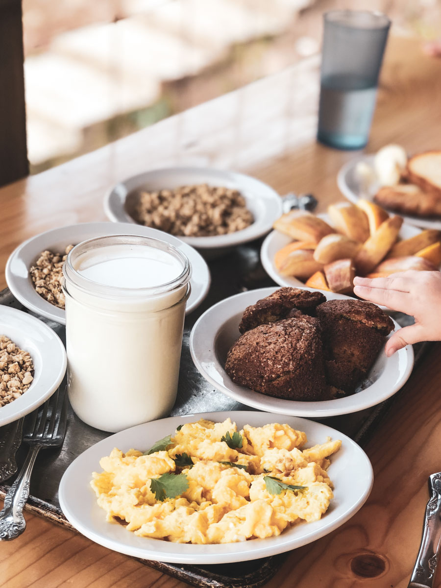 A modern Continental Breakfast at Boulder Mountain Guest Ranch in Utah.